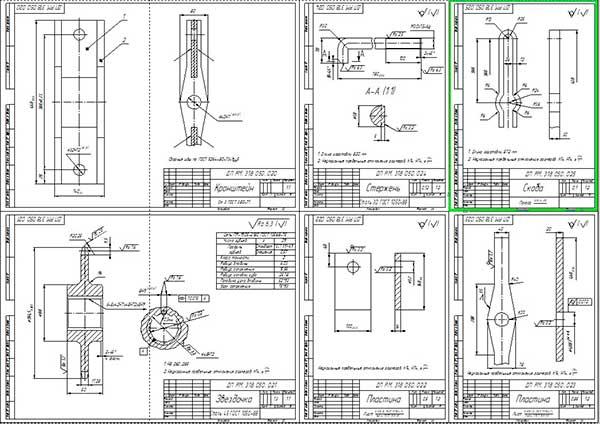 Сборочный чертеж кронштейна и деталировка