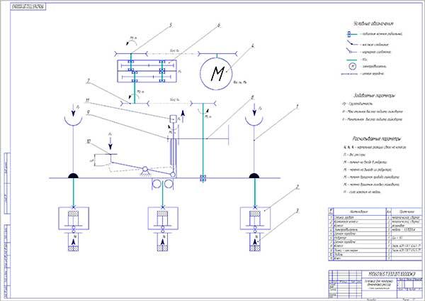 Кинематическая схема разрабатываемой установки