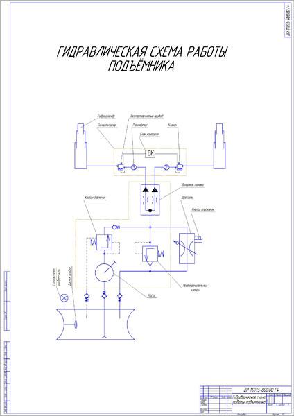 гидравлическая схема подъемника