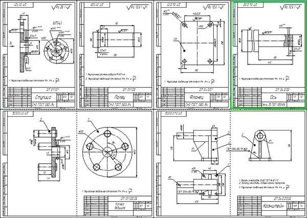 Деталировка универсального стенда обкаток кареток тракторов