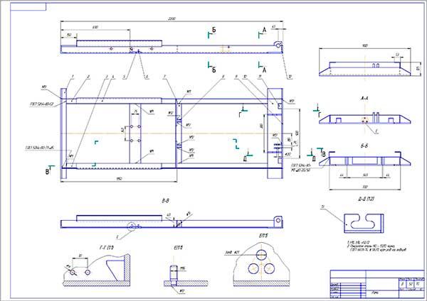 Сборочный чертеж рамы подъемника-опрокидывателя