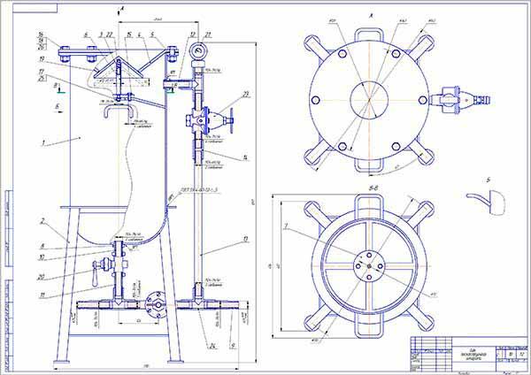 Сборочный чертеж пескоструйного аппарата