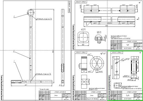 Сборочный чертеж опорной стойки и деталировка