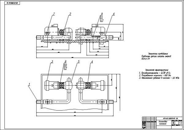 Сборочный чертеж насосной установки