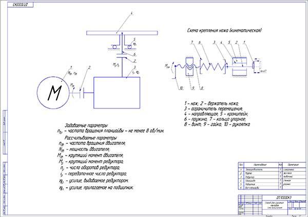 Кинематическая схема стенда для срезания тормозных накладок