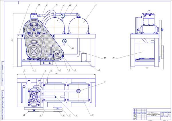 Чертеж общего вида стенда для обкатки автомобильных компрессоров
