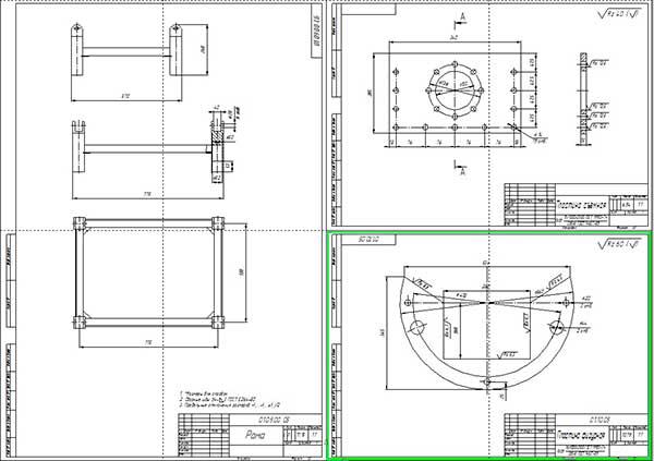 Сборочный чертеж рамы и детали