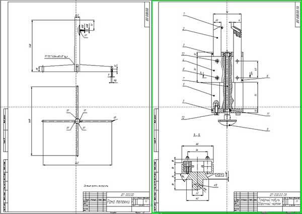 Сборочный чертеж токарного модуля и рамы тележки