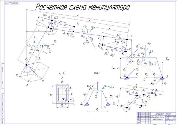 Расчетная схема манипулятора